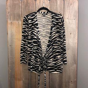 DKNY Size M Black & White Cheetah Cardigan